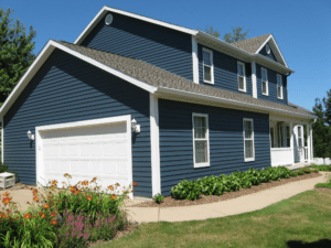 House with blue siding